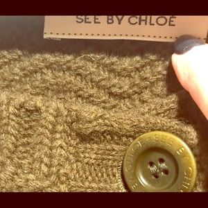 See by Chloe army green fall/winter sweater vest